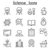 Ícone da ciência ajustado na linha estilo fina Fotografia de Stock Royalty Free