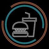Ícone da comida lixo - ícone do fast food - hamburguer ilustração do vetor