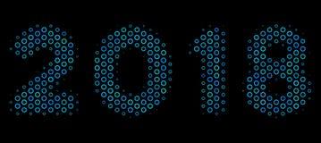 Ícone da composição do texto de 2018 anos das esferas de intervalo mínimo Ilustração do Vetor