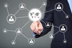 Ícone da conexão do mapa do sinal da Web do botão do negócio Conceito da tecnologia, do Internet e dos trabalhos em rede Imagem de Stock Royalty Free