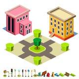 Ícone da construção da casa e do parque Foto de Stock Royalty Free