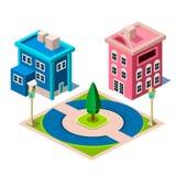 Ícone da construção da casa e do parque Imagens de Stock