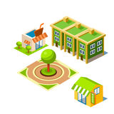 Ícone da construção da casa e do parque Fotografia de Stock