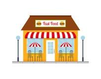 Ícone da construção do restaurante do fast food Foto de Stock
