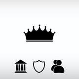 Ícone da coroa, ilustração do vetor Estilo liso do projeto Foto de Stock