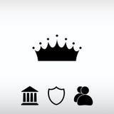 Ícone da coroa, ilustração do vetor Estilo liso do projeto Foto de Stock Royalty Free