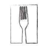 ícone da cutelaria da forquilha do contorno ilustração stock