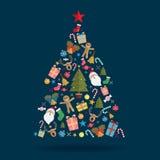 Ícone da decoração da árvore de Natal Fotos de Stock