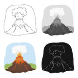 Ícone da erupção do vulcão no estilo dos desenhos animados isolado no fundo branco Dinossauros e vetor pré-histórico do estoque d Foto de Stock Royalty Free