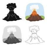 Ícone da erupção do vulcão no estilo dos desenhos animados isolado no fundo branco Dinossauros e vetor pré-histórico do estoque d Imagem de Stock Royalty Free