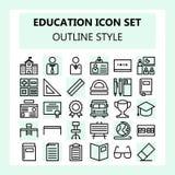 Ícone da escola e da educação ajustado no esboço/linha estilo ilustração royalty free