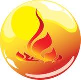Ícone da esfera da flama Fotos de Stock Royalty Free