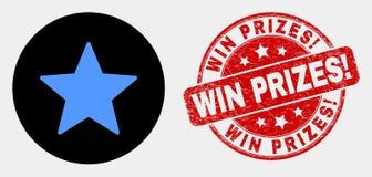 Ícone da estrela do vetor e para afligir prêmios da vitória! Selo ilustração stock