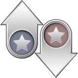 Ícone da estrela sobre acima e para baixo setas Imagem de Stock Royalty Free
