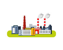 Ícone da fábrica, conceito da poluição Ilustração lisa do vetor Fotos de Stock