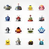 Ícone da face do robô dos desenhos animados, ícone do Web ajustado - Imagem de Stock Royalty Free