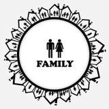 Ícone da família com as famílias na casa ilustração stock