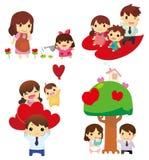 Ícone da família dos desenhos animados Fotos de Stock Royalty Free