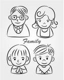 Ícone da família dos desenhos animados da tração da mão Foto de Stock