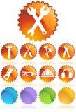 Ícone da ferragem ajustado: Série da tecla do Web do selo ilustração royalty free