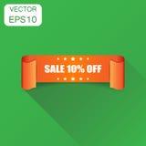 Ícone da fita da venda 10% Venda do conceito do negócio etiqueta de 10 por cento Imagem de Stock