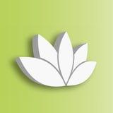 Ícone da flor de Lotus 3d no fundo verde do inclinação Bem-estar, termas, ioga, beleza e tema saudável do estilo de vida Vetor Fotos de Stock Royalty Free