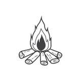 Ícone da fogueira, fogueira ardente Fotografia de Stock Royalty Free