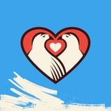 Ícone da forma da pomba e do coração ilustração royalty free