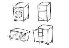 Ícone da garatuja dos armários do forno do refrigerador da máquina de lavar Fotos de Stock