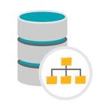 Ícone da gestão de base de dados Símbolo da arquitetura do base de dados Fotografia de Stock Royalty Free