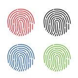 Ícone da identificação app da impressão digital Ilustração do vetor da impressão digital Fotografia de Stock