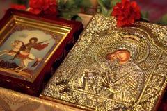 Ícone da igreja da mãe do deus & do x28; Mary& x29; e criança & x28; Jesus Christ & x29; sym fotos de stock