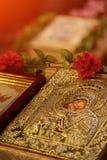 Ícone da igreja da mãe do deus & do x28; Mary& x29; e criança & x28; Jesus Christ & x29; sym imagem de stock royalty free