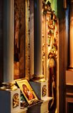 Ícone da igreja da mãe do deus & do x28; Mary& x29; e criança & x28; Jesus Christ & x29; sym imagens de stock