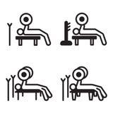 Ícone da imprensa de banco do halterofilismo em quatro variações Ilustração do vetor Fotografia de Stock
