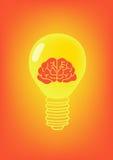 Ícone da laranja da lâmpada e do cérebro Fotografia de Stock Royalty Free