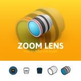 Ícone da lente zoom no estilo diferente ilustração stock
