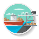 Ícone da logística com navio do frete Imagens de Stock