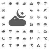 Ícone da lua e da estrela da nuvem Ícones do vetor do tempo ajustados Fotografia de Stock
