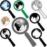 Ícone da lupa do mundo para procurarar a terra do achado ilustração do vetor