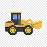 Ícone da máquina escavadora da roda, estilo dos desenhos animados ilustração royalty free