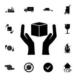 ícone da mão e da caixa Grupo detalhado de ícones logísticos Ícone superior do projeto gráfico da qualidade Um dos ícones da cole ilustração royalty free