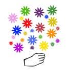 Ícone da mão que guarda o ramalhete de flores coloridas Fotos de Stock Royalty Free