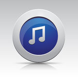 Ícone da música do cinza azul Fotografia de Stock