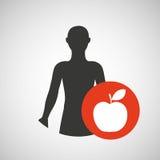 Ícone da maçã da saúde do homem da silhueta Imagens de Stock Royalty Free