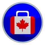Ícone da mala de viagem da bandeira de Canadá Fotografia de Stock Royalty Free