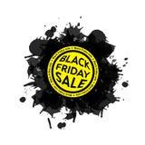 Ícone da mancha da venda de Black Friday Fundo branco Fotos de Stock Royalty Free