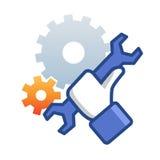 Ícone da manutenção com chave da mão Fotografia de Stock