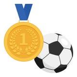 Ícone da medalha de ouro e da bola do futebol ou de futebol ilustração royalty free