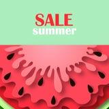 Ícone da melancia da bandeira da venda do verão Imagens de Stock
